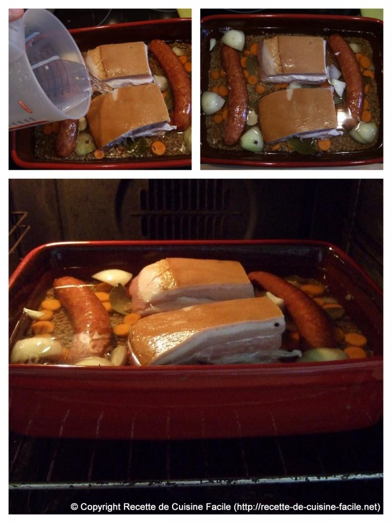 Saucisse aux lentilles au four : L'arrosage & la cuisson